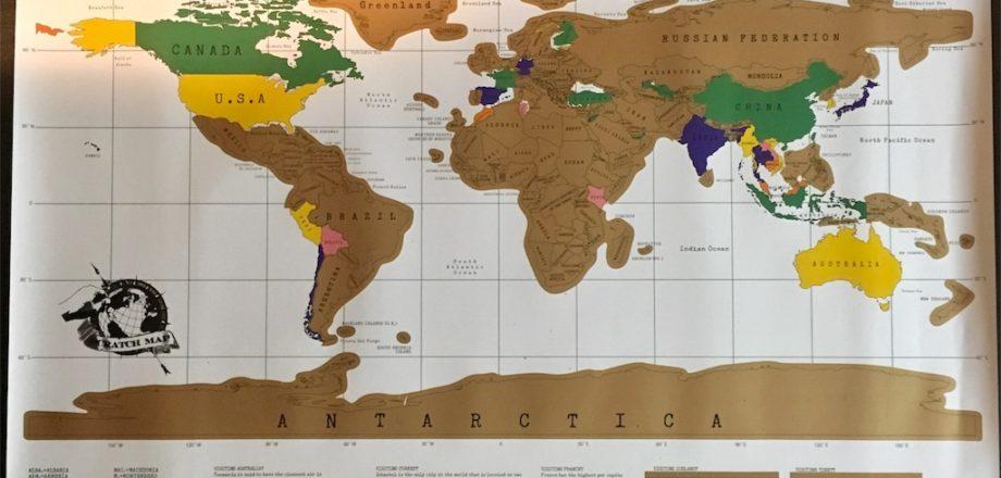 旅好き必見スクラッチマップが楽しい世界を旅して全ての国を削りと